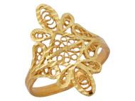 Anillo Diamantado Lindo Para Dama Estilo Floral Filigrana En Oro Amarillo De (OM#10085)