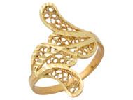 Anillo Diamantado Estilo Bypass Con Rama Y Ojas Para Dama En Oro Amarillo De (OM#10101)