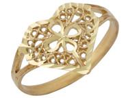 Anillo Diamantado Estilo Filigrana De Aro Partido Con Corazon Y Flor En Oro (OM#10111)