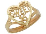 Anillo Diamantad Con Corazon Y Frase Sweet 16 En Oro Amarillo De (OM#10116)