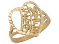 Anillo Diamantado Estilo Filigrana Con Corazon Y Frase Sexy Wife En Oro De (OM#10117)