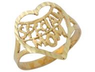 Anillo Diamantado Con Corazon Y Frase Special Mom En Oro Amarillo De (OM#10118)