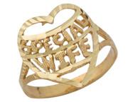Anillo Diamantado Con Corazon Y Frase Special Wife En Oro Amarillo De (OM#10119)