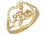 Anillo Diamantado Con Corazon Y Frase I Love You En Oro Amarillo De (OM#10120)