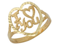 Anillo Con Corazon Diamantado Y Frase I Love You En Oro Amarillo De (OM#10121)
