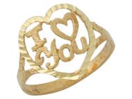 Anillo Con Corazon Diamantado Y Frase I Love You En Oro Amarillo De (OM#10121)