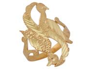 Anillo Elegante Diamantado Con Ave Pajaro Y Aro Partido En Oro Amarillo De (OM#10136)