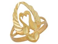 Anillo Elegante Diamantado Con Dos Cisnes Y Aro Partido En Oro Amarillo De (OM#10137)