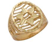 Anillo Diamantado De Dama En Estilo Estrella De David De Seis Puntas En Oro (OM#10140)