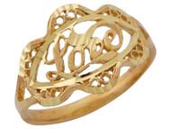 Anillo Para Dama Con Palabra Love Y Diamantado Unico Estilo Filigrana En Oro (OM#10149)