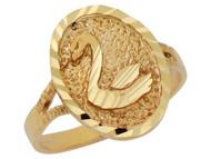 Anillo Diamantado Hermoso Adorable Ovalado Con Cisne En Oro Amarillo De (OM#10157)