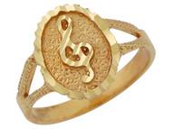 Anillo Diamantado Con Clave Musical Clave De Sol En Oro Amarillo De (OM#10159)