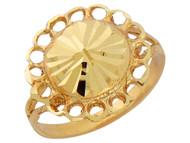 Anillo Ancho Diamantado Para Dama De Estilo De Flor Simple En Oro Amarillo (OM#10165)