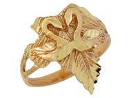 Anillo Hermoso Diamantado Para Dama De Cisnes Sobre Una Hoja En Oro De (OM#10176)