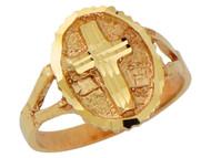 Anillo Ovalado Religioso Para Dama Con Cruz Latina Diamantada En Oro De (OM#10179)