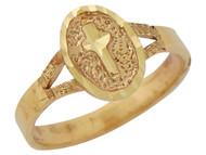 Anillo Pequeno Ovalado Religioso De Dama Con Cruz Diamantada En Oro De (OM#10180)