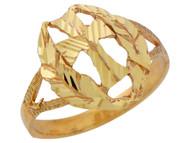 Anillo Religioso De Dama Con Cruz Pattee Diamantada Y Corona De Olivo En Oro (OM#10183)