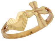 Anillo Religioso Diamantado De Cruz Y Corazon En Oro Amarillo De (OM#10190)