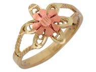Anillo Floral Diamantado De Dama De Diseno De Cuerda En Oro De 2 Tonos (OM#10227)