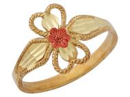 Anillo Floral Diamantado De Dama Diseno De Cuerda En Oro De Dos Tonos (OM#10228)
