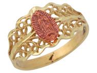 Anillo Diamantado De Dama Filigrana Con Virgen De Guadalupe En Oro 2 Tonos (OM#10234)