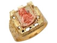 Anillo Cuadrado Diamantado Con Santa Barbara Y Circonita En Oro 2 Tonos (OM#10236)