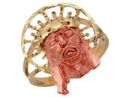 Anillo Diamantado De Jesus Con Aureola Y Aro Partido En Oro De Dos Tonos De (OM#10238)