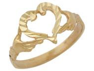 Anillo Diamantado Lindo De Amor Con Corazon Y Manos En Oro Amarillo De (OM#10243)