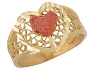 Anillo Diamantado De Dama Con Corazones Y Diseno Filigrana En Oro Dos Tonos (OM#10246)