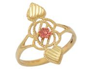 Anillo Diamantado Con Diseno De Cuerda Corazon Y Flor En Oro De Dos Tonos (OM#10266)