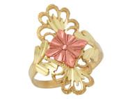 Anillo Ancho Deslumbrante Para Dama Diamantado Estilo Floral En Oro 2 Tonos (OM#10273)