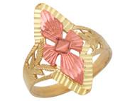 Anillo Ancho Diamantado De Lujo Para Dama En Oro De Dos Tonos De (OM#10281)
