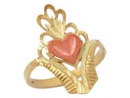 Anillo Diamantado De Dama Con Diseno De Corona Y Corazon En Oro De 2 Tonos (OM#10284)