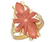 Anillo Ancho Exquisito Para Dama Con Flor Diamantada En Oro De Dos Tonos De (OM#10287)
