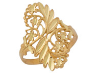 Anillo Diamantado Para Dama Estilo Floral De Naturaleza En Oro Amarillo De (OM#10302)