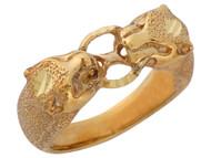 Anillo Diamantado Asombroso De Leopardo Gato Grande En Oro Amarillo De (OM#10315)