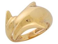 Anillo Adorable De Alto Brillo Para Dama De Delfin En Estilo Bypass En Oro (OM#10316)