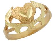 Anillo Diamantado Unico Para Dama Con Corazon Y Aro Partido En Oro Amarillo (OM#10338)