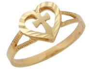 Anillo Elegante Religioso Diamantado Con Corazon Y Cruz En Oro Amarillo De (OM#10341)