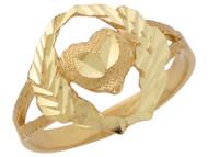 Anillo Diamantado Con Corazon Corona De Olivo Y Aro Partido En Oro De (OM#10342)