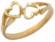 Anillo Diamantado Para Dama De Moda Con Diseno De Dos Corazones En Oro De (OM#10345)