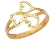 Anillo Diamantado Para Dama De Moda Con Diseno De Tres Corazones En Oro De (OM#10346)