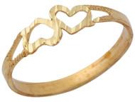 Anillo Diamantado De Dama De Moda Con Diseno De Corazones Volteados En Oro (OM#10347)