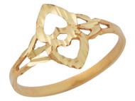 Anillo Diamantado De Dama De Moda Con Diseno De Corazones Invertidos En Oro (OM#10348)