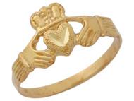 Anillo Diamantado Tradicional Claddagh Manos Sosteniendo Corazon En Oro De (OM#10350)