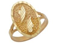 Anillo Ancho Diamantado Para Dama Estilo Corazon Con Marco Ovalado En Oro (OM#10359)