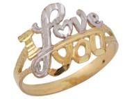 Anillo Asombroso Diamantado Con Frase I Love You En Oro De Dos Tonos De (OM#10360)