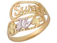 Anillo Asombroso Diamantado Floral Con Frase Sweet 16 En Oro De Dos Tonos De (OM#10362)