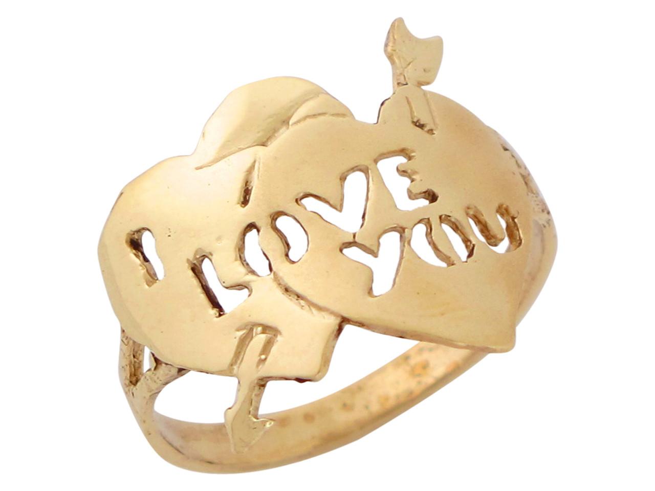 Anillo De Alto Brillo Con Dos Corazones Y Frase I Love You En Oro Amarillo Om10364