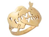 Anillo De Alto Brillo Con Dos Corazones Y Frase I Love You En Oro Amarillo (OM#10364)